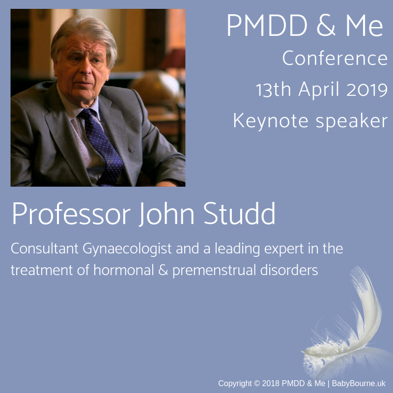 Professor John Studd keynote speaker at PMDD & Me Conference 13th April 2019 - Consultant Gynaecologist and leading expert in the treatment of hormonal and premenstrual disorders